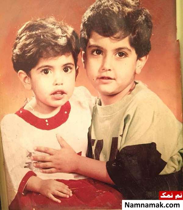 عکس کودکی ساناز طاری و برادرش سامیار